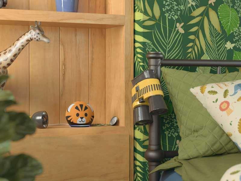 Echo Dot Kids Edition, versión tigre, en habitación
