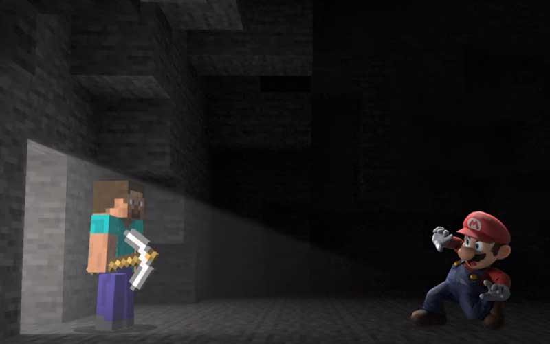 Mario vs Steve de Minecraft en Super Smash Bros Ultimate