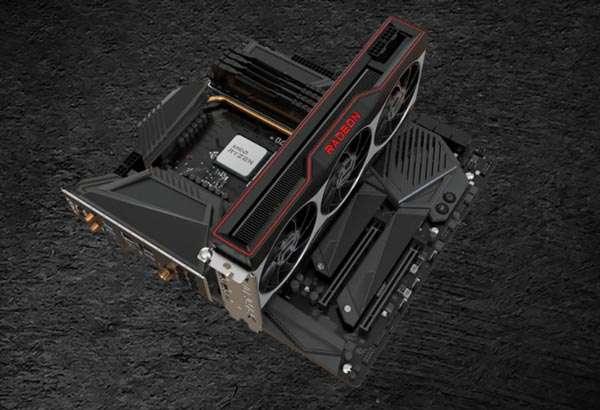 AMD Radeon RX Serie 6000, montada en una tarjeta madre
