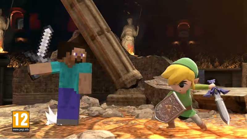 Link vs Minecraft en Super Smash Bros Ultimate