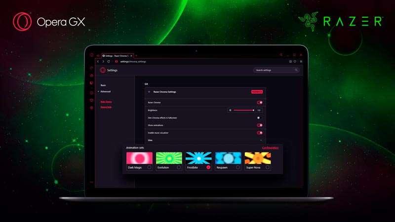 Razer Chrome RGB en navegador Opera GX