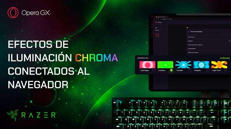 Efectos de iluminación Razer Chroma RGB conectados al navegador Opera GX