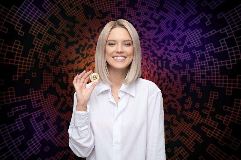 Representación del Blockchain (mujer con un Bitcoin)