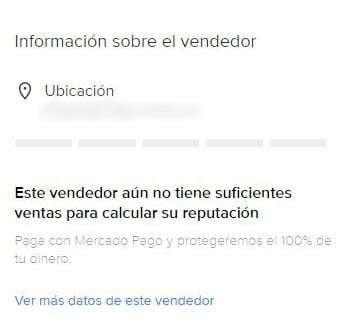 Información del vendedor  sin reputación en Mercado Libre