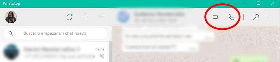 WhatsApp Web, botones para iniciar videollamadas