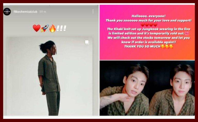 La pijama que usó Jungkook en VLive se agotó en unos minutos